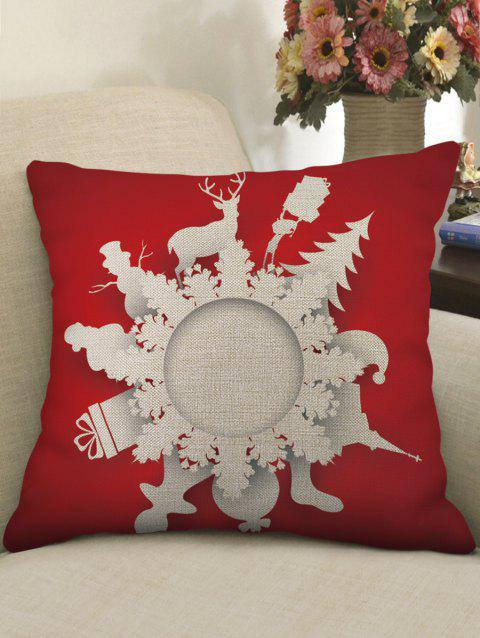 Christmas Pattern Decorative Sofa Linen Pillowcase - RED W18 X L18 INCH