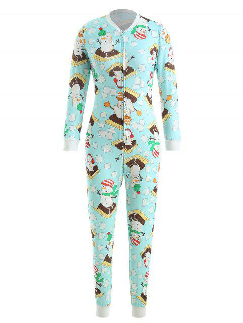 Christmas Snowman Print Jumpsuit - LIGHT SLATE L