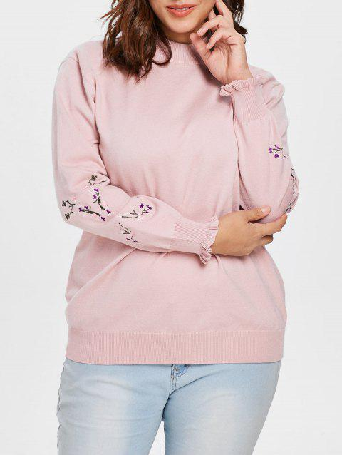 Plus Size Embroidered Sleeve Sweater - PINK 1X