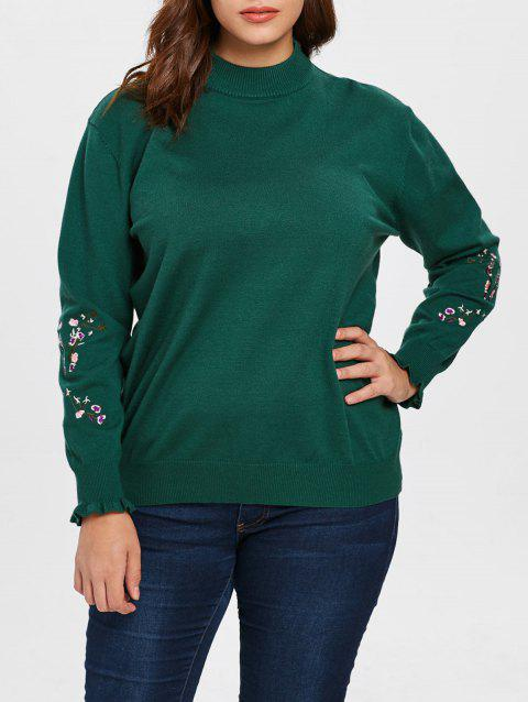 Plus Size Embroidered Sleeve Sweater - MEDIUM SEA GREEN 1X