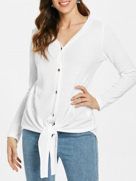 Long Sleeve Tie Waist Buttoned Blouse - WHITE 2XL
