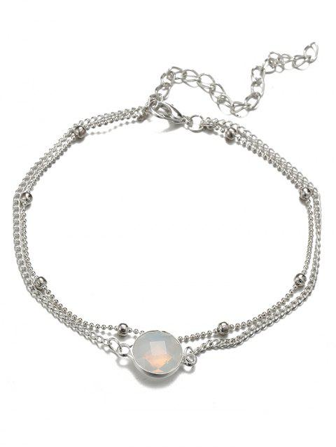 Vintage Faux Gem Foot Jewelry Chain Ankle - SILVER
