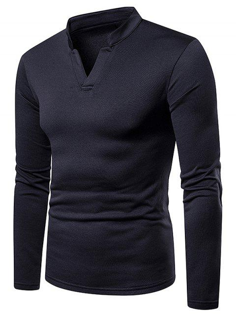 Long Sleeves V Neck Solid Color Fleece T-shirt - DARK SLATE GREY L