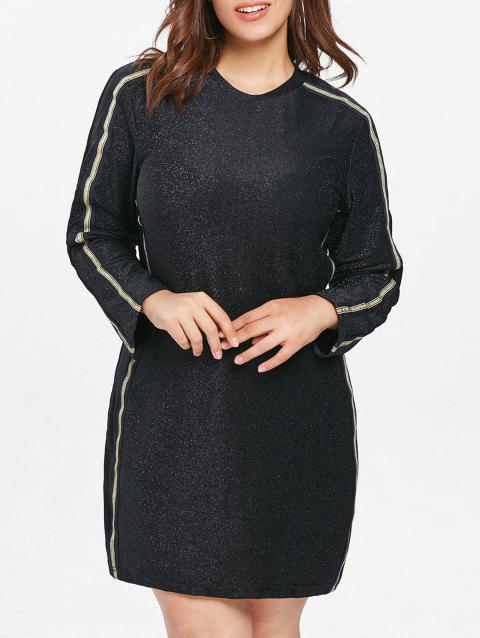 Plus Size Long Sleeve Sparkly Dress - BLACK 5X