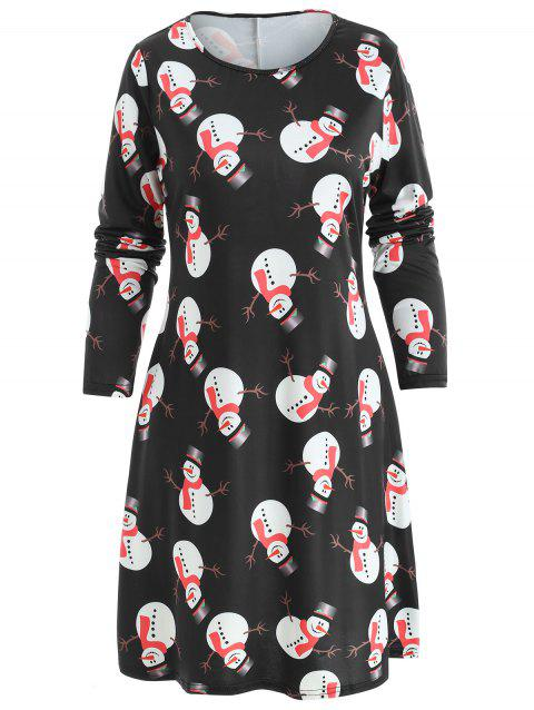 Christmas Snowman Print Mini T-shirt Dress - BLACK M