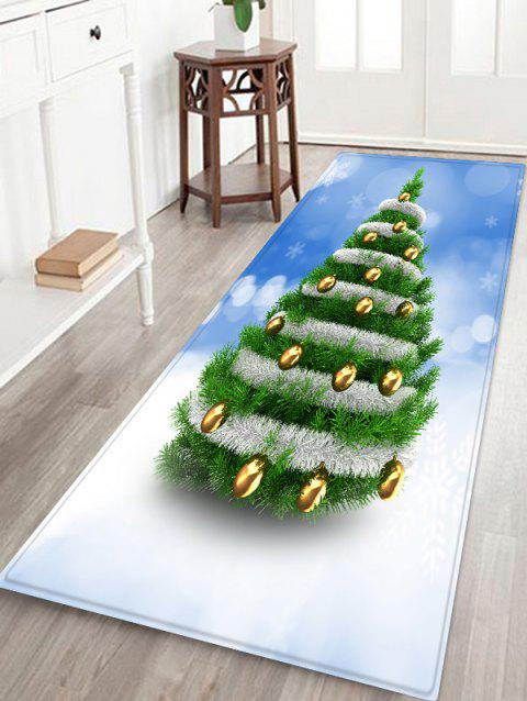 Christmas Tree and Baubles Snowflakes Print Antiskid Area Rug - JUNGLE GREEN W16 X L47 INCH