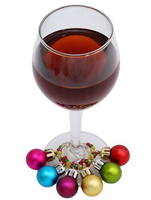 Christmas Ball Decor Wine Charm Rings - multicolor