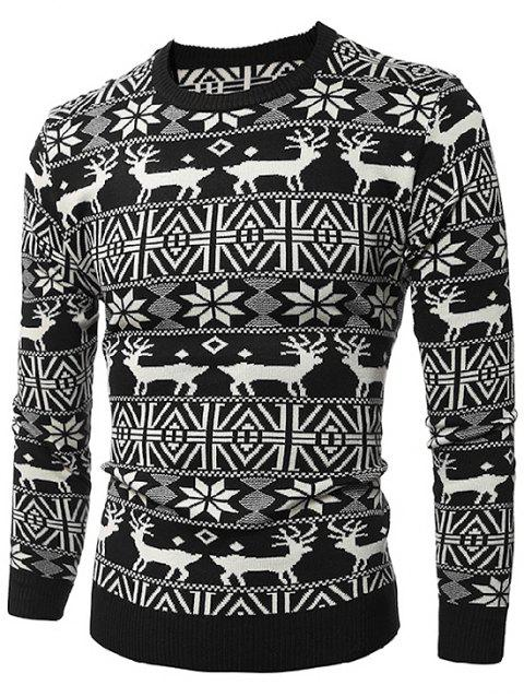 Limited Offer 2019 Deer Print Round Neck Christmas Sweater In Black