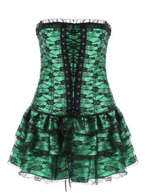 Lace Corset with Mini Skirt - GREEN 2XL