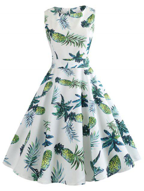 Pineapple Print Fit and Flare Dress - WHITE M