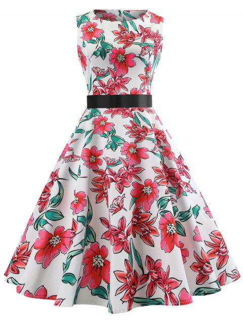 Vintage Floral Printed Fit and Flare Dress - WHITE L