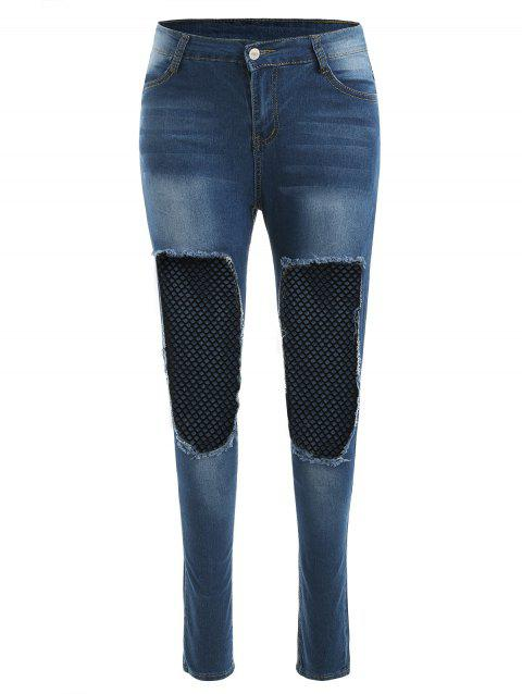 Distressed Fishnet Panel Denim Pants - JEANS BLUE L