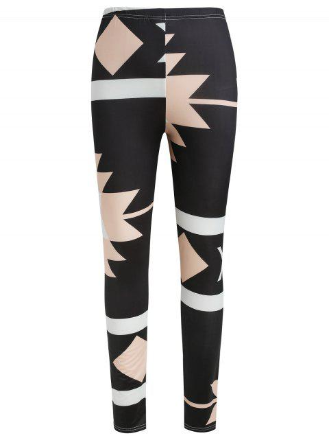 Geometric Print High Waist Pants - multicolor S