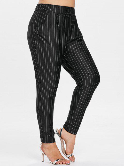 2018 Plus Size Striped Elastic Waist Tapered Pants Black X In Pants