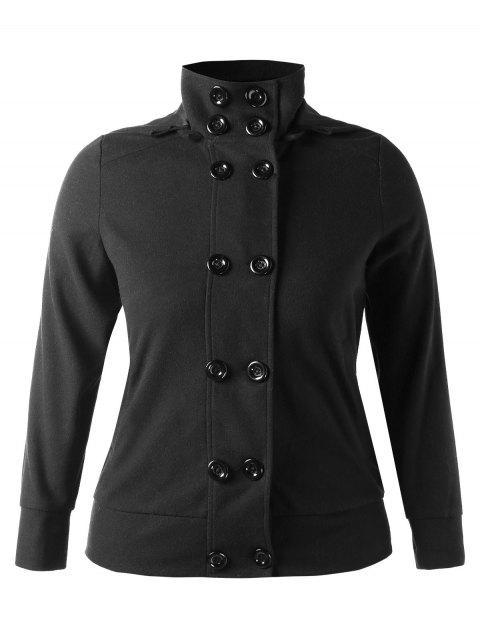 Plus Size Fitted Double Breasted Jacket - BLACK 3X