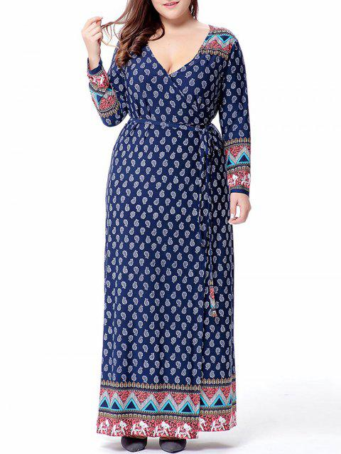 Plus Size Belted Maxi Surplice Dress - DEEP BLUE 3X