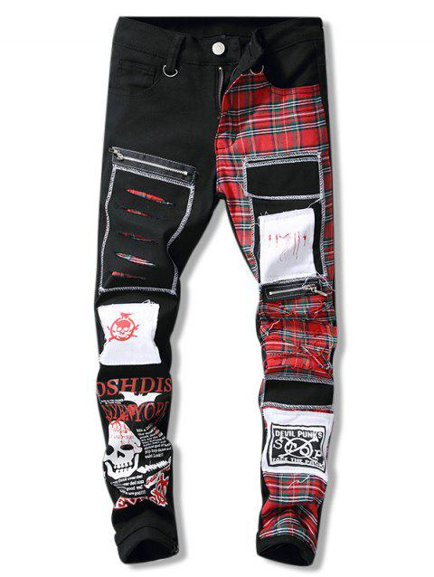 Striaght Leg Skull Printed Patch Embellish Jeans - BLACK 34