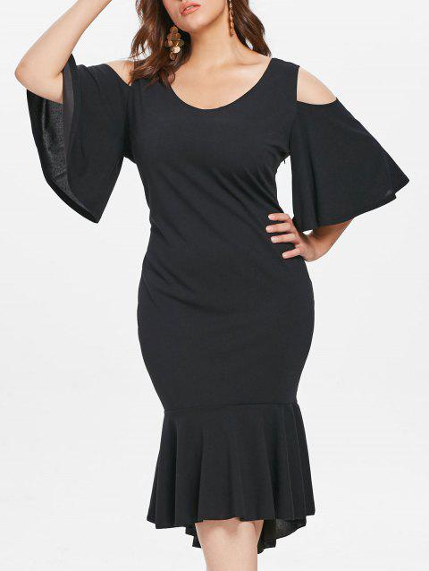 Plus Size Cold Shoulder Ruffle Hem Knee Length Dress - BLACK 4X