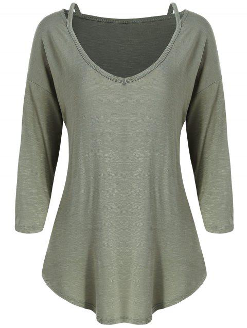 V Neck Cut Out T-shirt - ARMY GREEN M