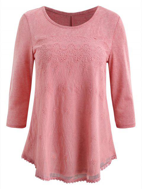 Embroidered Mesh Insert T-shirt - PINK 2XL