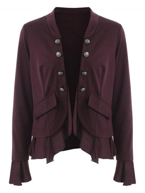 Open Front Flounce Jacket - RED WINE XL