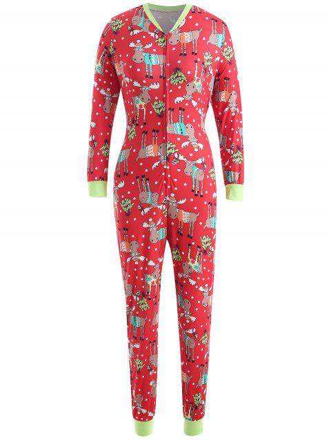 Christmas Elk Print Jumpsuit - RED L