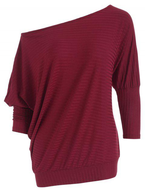 5d304cea30 2019 One Shoulder Ribbed Tunic Tee In RED S