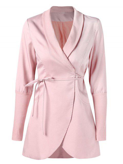 Ribbed Panel Skirted Wrap Coat - LIGHT PINK 2XL