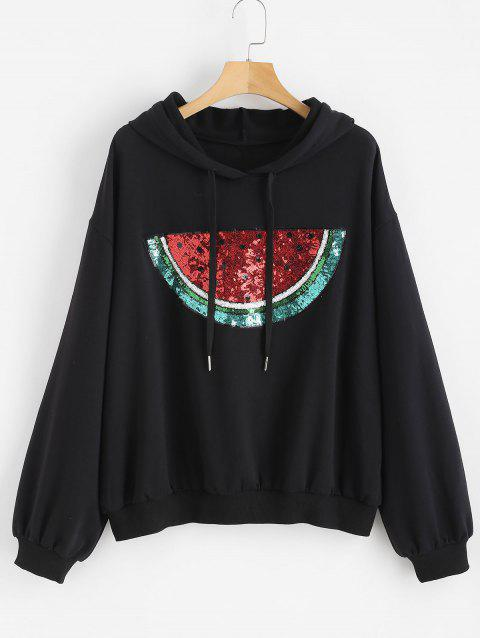 Sequined Watermelon Patch Plus Size Hoodie - BLACK 1X