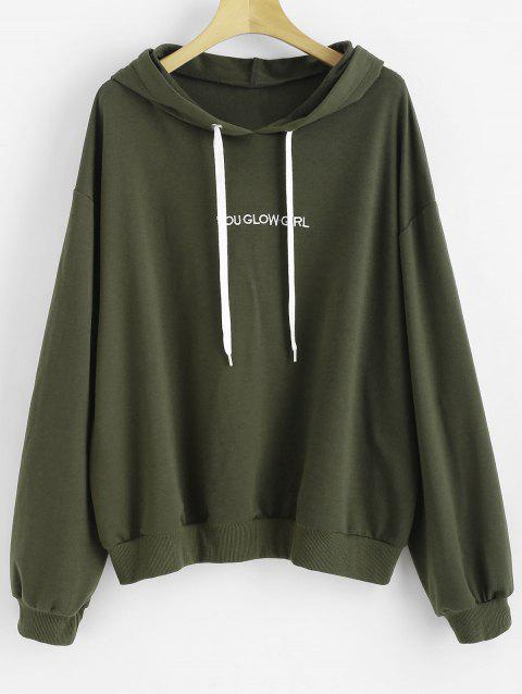 Letter Embroidered Plus Size Hoody - HAZEL GREEN 1X