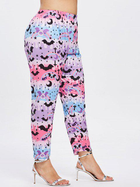 Plus Size Bat Print Halloween Leggings - multicolor 3X