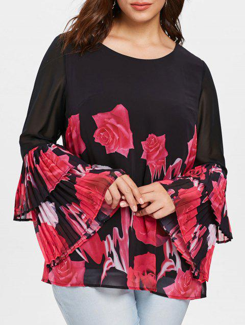 Plus Size Flare Sleeve Floral Top - BLACK 1X