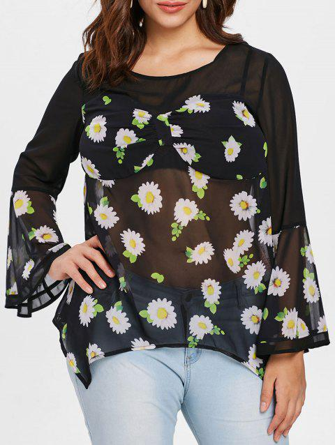 Plus Size Sheer Floral Bell Sleeve Blouse - BLACK 2X