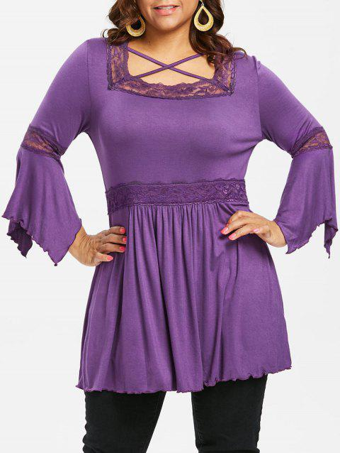 Plus Size Lettuce Lace Square Neck T-shirt - PURPLE 4X