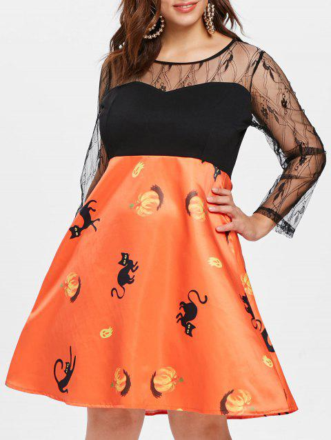 Plus Size Vintage Pumpkin Halloween Dress - PUMPKIN ORANGE 2X