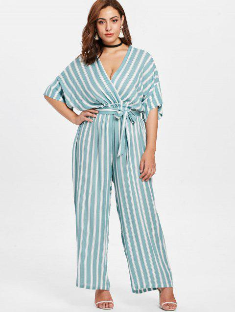 Striped Plus Size Surplice Jumpsuit - multicolor 3X