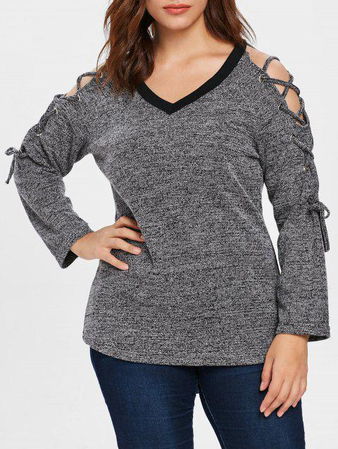 Plus Size Lace Up Space Dyed Knitwear - GRAY 2X