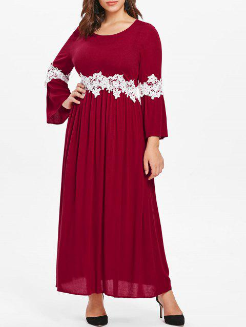 Plus Size Flare Sleeve Lace Panel Maxi Dress - RED WINE 2X