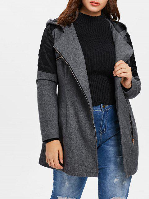 Plus Size Contrast Zip Fly Woollen Coat - GRAY 2X
