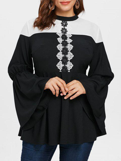 Two Tone Lace Panel Plus Size Blouse - BLACK 2X