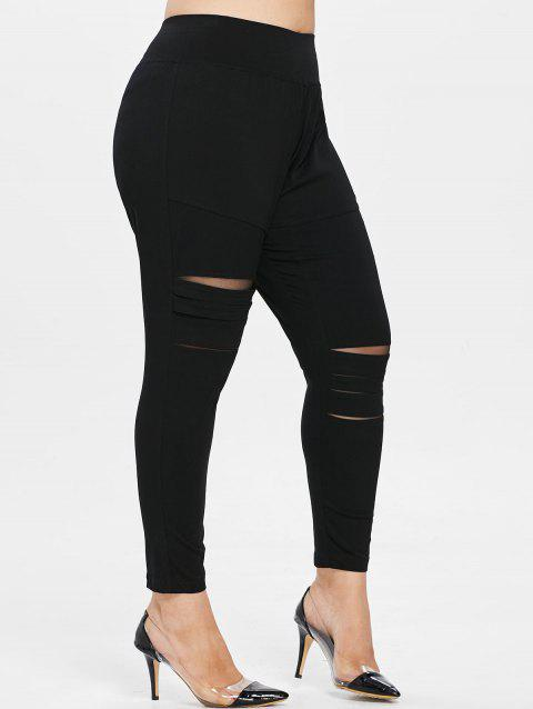 Plus Size Distressed Leggings - BLACK 4X