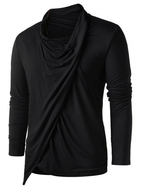 Heaps Collar Long Sleeve Asymmetric T-shirt - BLACK L