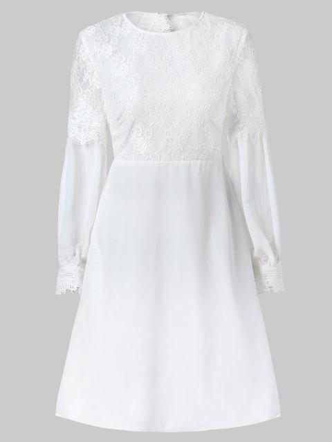 Lace Panel Cut Out Long Sleeve Dress - WHITE M