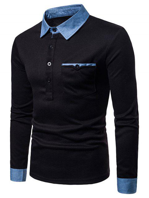Casual Denim Collar Cuff Polo Shirt - BLACK XL