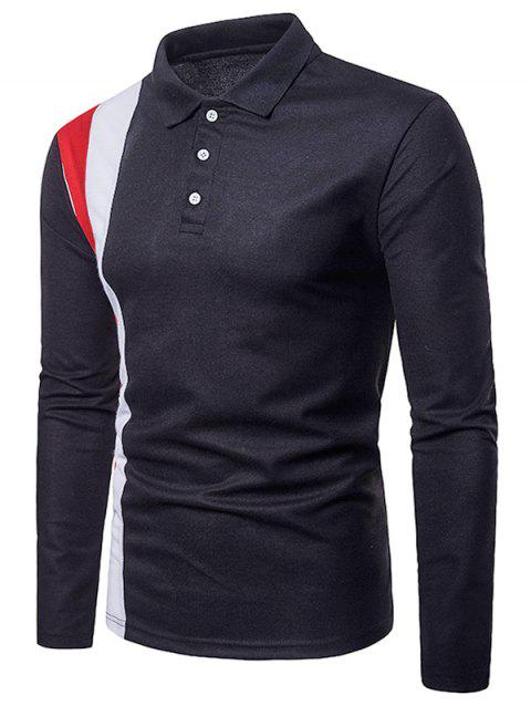 Patchwork Long Sleeve Polo Shirt - BLACK L
