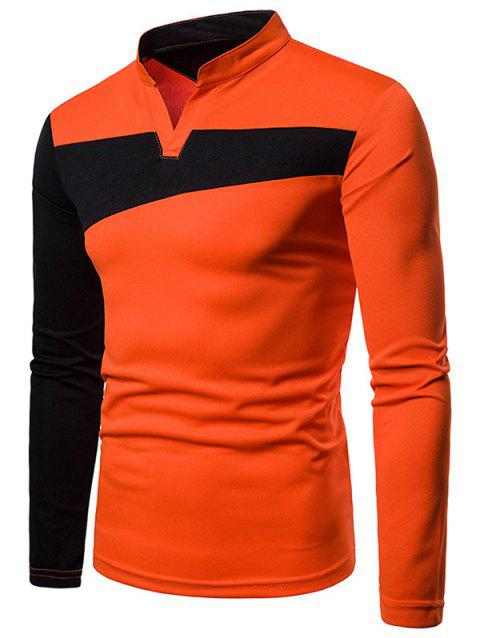 Contract Color Stand Collar T-shirt - ORANGE M