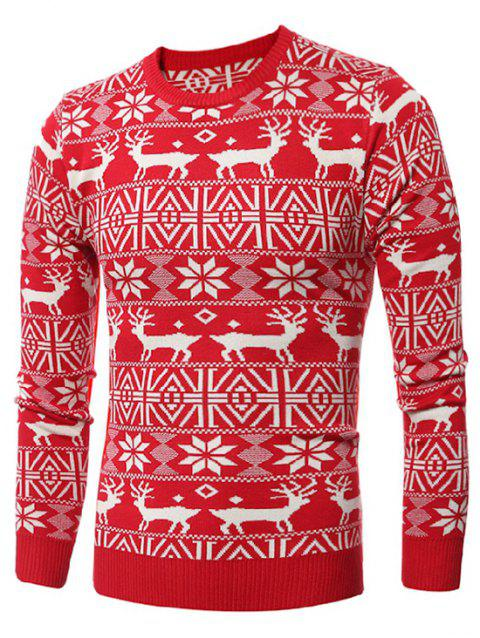 Deer Print Round Neck Christmas Sweater - LAVA RED L