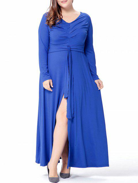 Plus Size High Slit Maxi Dress - BLUE 1X
