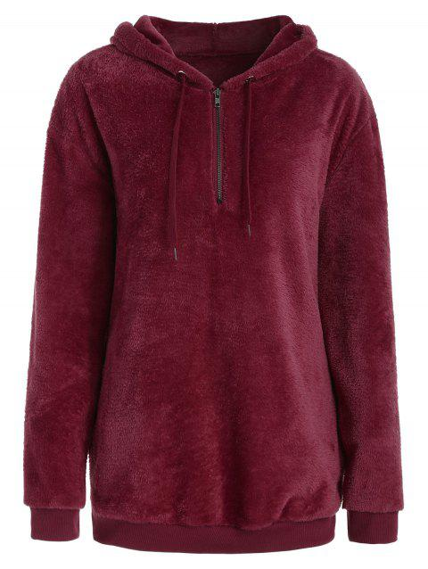 Drop Shoulder Half Zipper Faux Fur Hoodie - RED WINE M