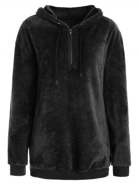 Drop Shoulder Half Zipper Faux Fur Hoodie - BLACK M